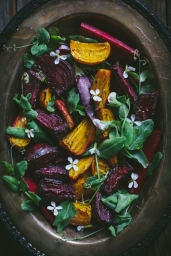 #7 Roasted Beet Salad with Pea Shoots