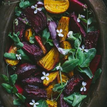 #7 Roasted Beet Salad with Pea Shoots